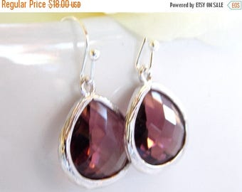 SALE Wedding Jewelry, Plum Earrings, Eggplant, Purple, Burgundy, Silver, Bridesmaid Jewelry, Earrings,Dangle,Bridesmaids Gifts,Wedding Gifts