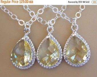 SALE Bridesmaid Jewelry, Yellow Necklace, Citrine, Soft yellow, Sterling Silver, Wedding Jewelry, Bridesmaid Gifts, Bridesmaid Pendant, Gift