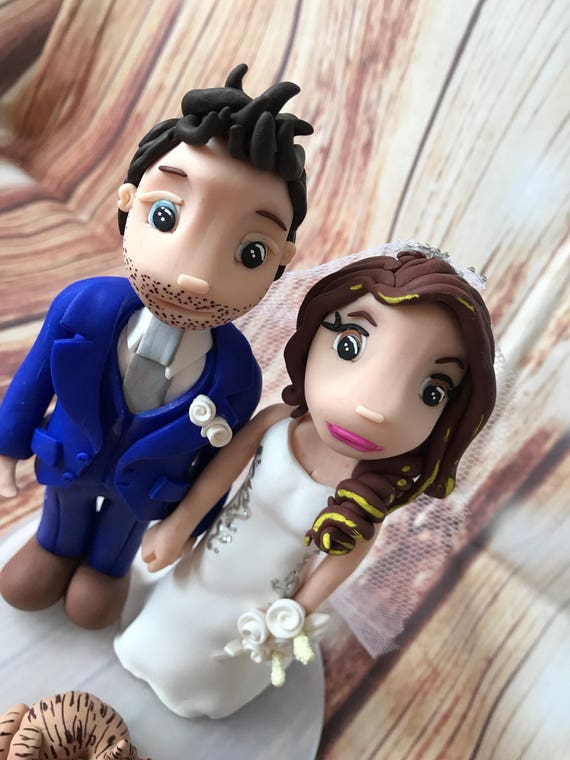 Fully personalised Trendy couple clay Wedding Cake Topper highly detailed and fully sculpted Keepsake - Bespoke Premium Service