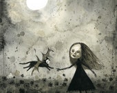 """8""""x10"""" Come Back Catbat (print of an original painting by Sophia Rapata)"""