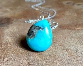Turquoise Pendant Necklace in Sterling Silver or Gold -  Raw Turquoise Necklace  - Turquoise Jewelry - December Birthstone Necklace