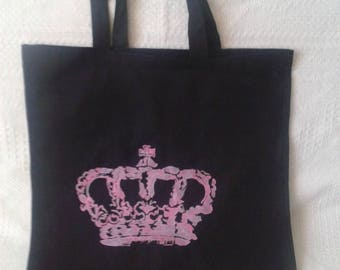 Pink Crown with black cotton tote bag