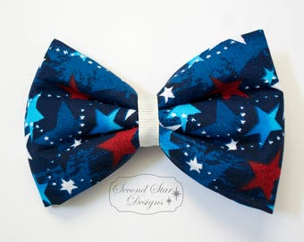 Patriotic Stars // Interchangeable Bow for Mouse Ears Headband or Hair // Clip-on Bow Tie