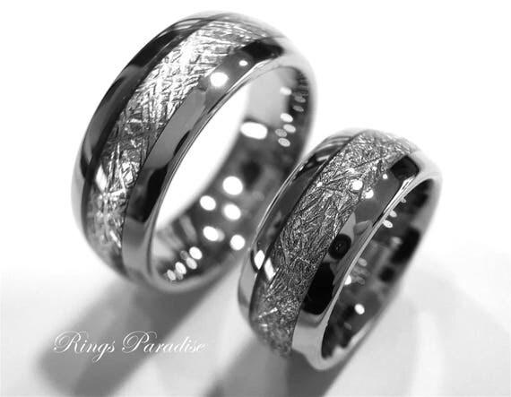 Matching Wedding Bands Meteorite Inlay Rings Men And Women