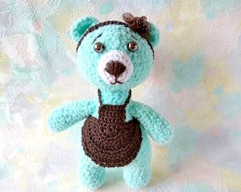 Bear crochet, Amigurumi bear, knitted animal, plush toy, crochet toy, Stuffed Animal, Gift daughter, small bear crochet, knitted mint bear