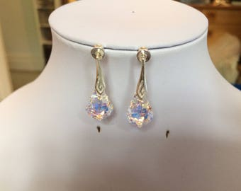 Sterling Silver AB Swarovski Elements Baroque Crystals on Fancy Bale Ear Wires or Posts