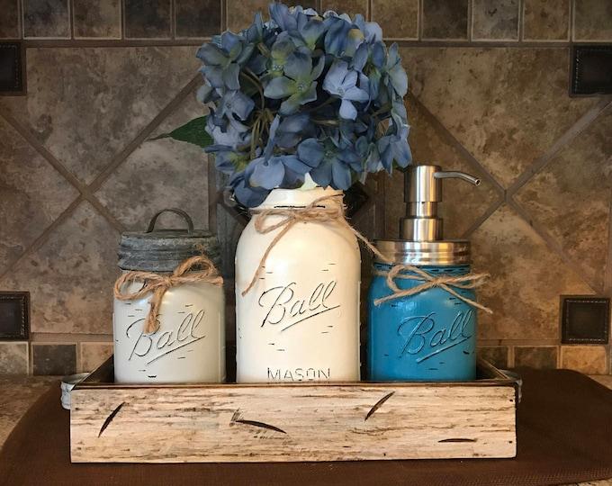 MASON Jar Kitchen or Bathroom SET in Antique White Pint TRAY, Canister, Quart Utensil Holder Vase, Soap Dispenser, Painted Jars Distressed
