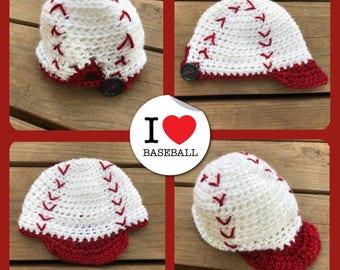 Baseball hat/boy/newborn/infant/toddler/kid/cap/crocheted/baby/stitching