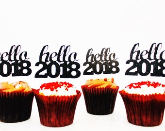 Hello 2018 cup cake toppers black glitter cupcake toppers - hello 2018 new year eves party celebrations 2018 party, party, gold glitter part