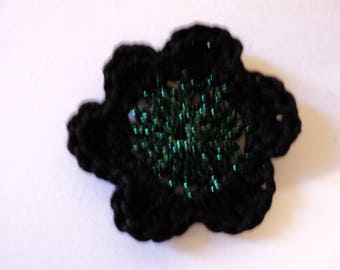 10 hook for SCRAPBOOKING cotton black and green flowers