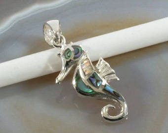 Seahorse, abalone and silver pendant  --  4401