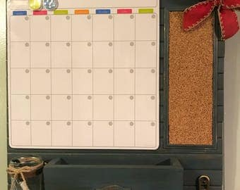 Command Center: magnetic dry-erase calendar, cork board, mail organizer and key holder