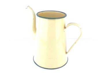 Yellow Enamelware Coffee Pot, Vase, Utensil Storage Vintage French