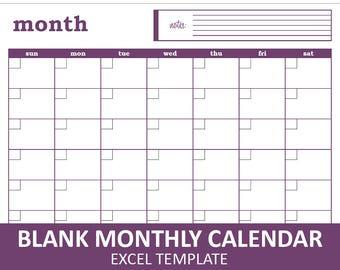 Blank Monthly Calendar - Purple   Printable Excel Calendar Template   Monthly Calendar   Instant Digital Download