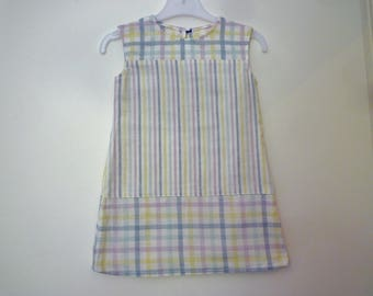 Child dress stripes and checks, size 3 years, ecru, yellow, pink, purple, blue