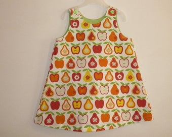 Child's dress with straps - apples and pears, oranges, yellow, red on ecru background - 2 years