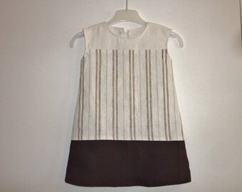 Child dress linen and cotton, Brown and cream colored, solid and stripes