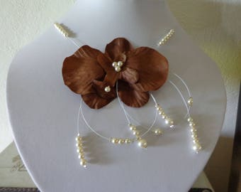 Brown ivory Orchid wedding necklace