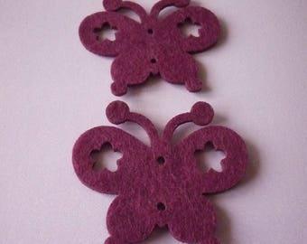Destash at-1 euro, felt Butterfly set purple home decor.