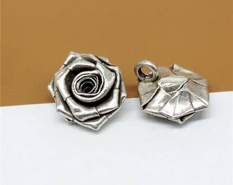 2 Karen Tribe Silver Rose Pendant, Karen Hill Silver Rose Flower Pendant, Hill Tribe Silver Rose Flower Charm 15mm, 17mm, 19mm - TR490