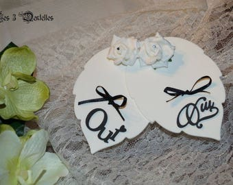 Ring bearer wedding double leaf white black and white * 3 lace *.