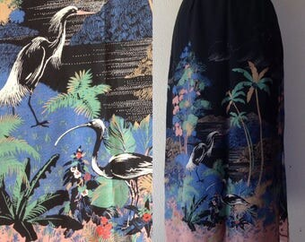 1980s Tropical print rayon skirt