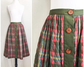 Quilted Button Up Circle Skirt by Miss Pat // 1950s Circle Skirt / 50s Full Skirt / Swing Skirt / Tartan Plaid Skirt / Quilted Skirt