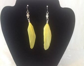 Clearance sale Feather Earrings , Yellow, retro, stylish , women, gift, one of a kind, birthday