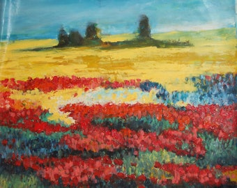 Vintage floral oil painting landscape