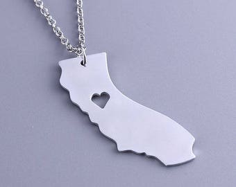 I heart California Necklace - California Pendant - State Charm - Map necklace - Map Jewelry
