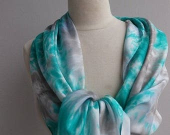 Scarf, soft steel grey, green silk scarf, gray mouse E59 @evysoie