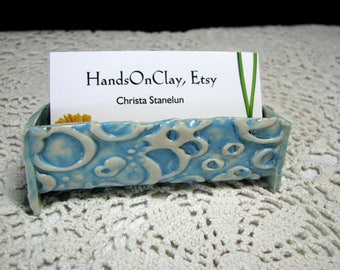 business card holder, ceramic desk accessory, pottery office gift, funky bright card holder,unique gift, happy turquoise color card holder,