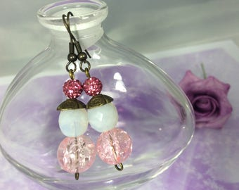 Earrings romantic Pearl Pink White and bronze