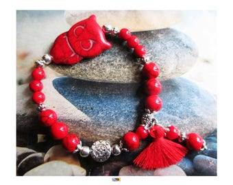 "Bracelet ""Protection-energy"" OWL Howlite and coral beads on Tibetan silver"