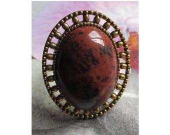"Ring cabochon antique vintage retro ""Stone of Obsidian Mahagonite"" on vintage brass frame"