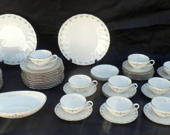 Matched 62 Piece Set Lenox Melissa Porcelain Dinnerware, 16 Dinner Plates, 1967-1981