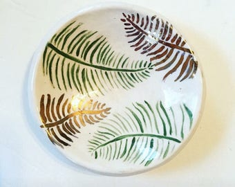 Hand Painted Ceramic Ring Dish - Gold - Ring Dish - Stoneware