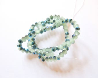 30 ROUND LOPHO OIL SEAFOAM BLUE FACETED CRYSTAL BEADS HAVE FACETED 4 MM
