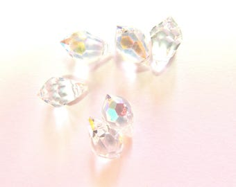 6 DROPS FACETED CRYSTAL GLASS IRIDESCENT AB 6/12 MM