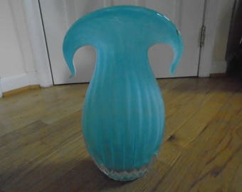 "SALE  Blue Ribbed Blown Glass Vase 13"" tall and very heavy   SALE"
