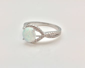 Silver Opal Ring with CZ Accent // Rhodium Plated 925 Sterling Silver // CZ Opal Ring // October Birthstone