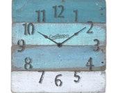 "Blue Nautical Decor Theme Wall Clock Rustic - Carlsbad - 14"" Square"