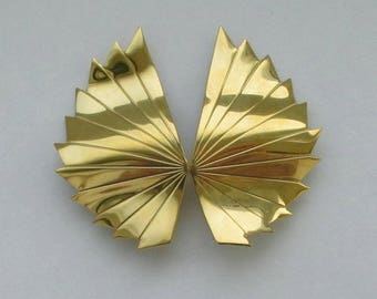 Vintage Givenchy Earrings Modernist Art Deco Chunky Fan Pleated Designer Goldtone Earrings Clip On Couture Earrings Statement 1980s Signed