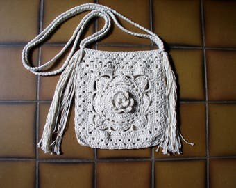 ecru crochet cotton with braided straps bag