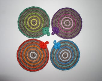 Set of four crocheted coasters