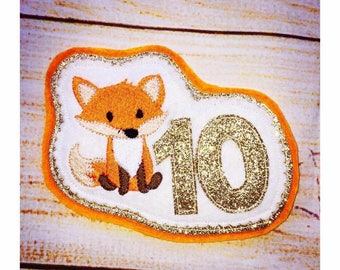Fox Birthday Number Badge, Birthday Badge, Number Badge, Party Badge