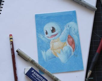 Pokemon Squirtle 4x6 pencil crayon drawing
