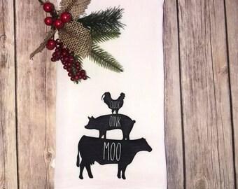 Cluck Oink Moo Farmhouse  Tea Towel