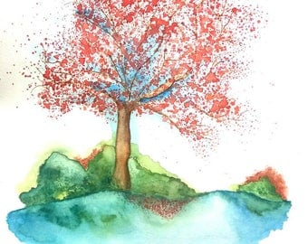The tree at the Lake - wall decor size 30 cm * 40 cm