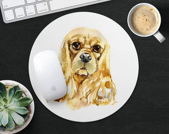American Cocker Spaniel Mouse Pad Dog Mouse Mat Fabric MousePad Rectangular MouseMat Round MousePad MouseMat Accessories Office Supplies